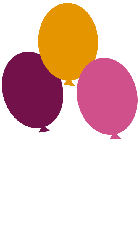Balões voando na festa