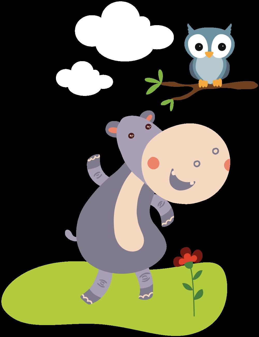Hipopótamo e coruja no galho